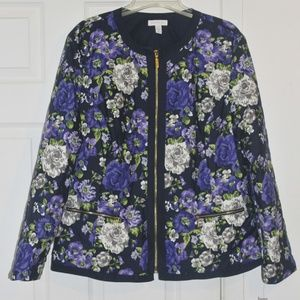 Carter Club size XL  Blue Floral Bomber Jacket